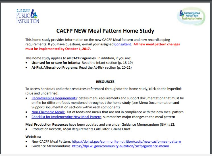 Webinars PowerPoints Trainings CCFP Roundtable Conference Enchanting Cacfp New Meal Pattern